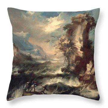 Italian Seascape With Rocks And Figures Throw Pillow by Marco Ricci