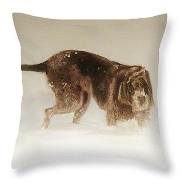 Italian Spinone In The Snow Throw Pillow
