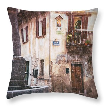 Throw Pillow featuring the photograph Italian Square In  Snow by Silvia Ganora