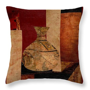 Italian Urn Collage Throw Pillow by Patricia Cleasby