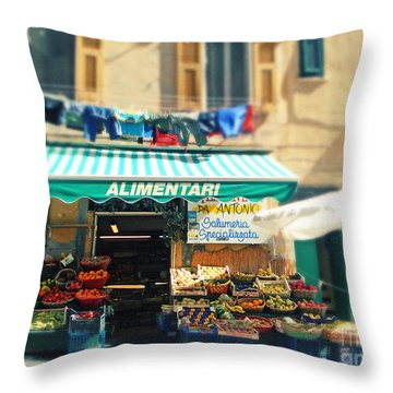 Italy Cinqueterre Store Front Throw Pillow by Sylvia Cook