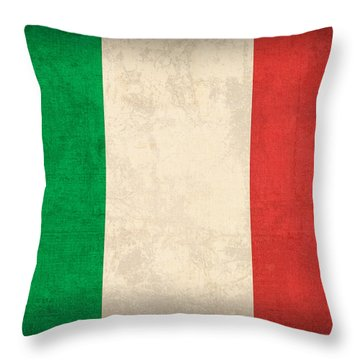 Italy Flag Vintage Distressed Finish Throw Pillow