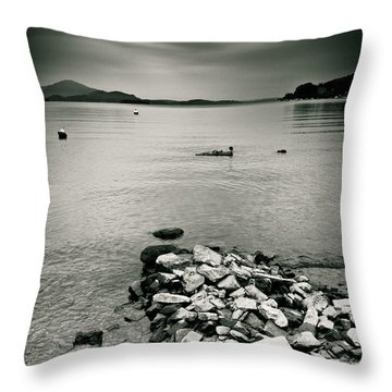 Italy Lake Maggiore Moody View Throw Pillow by Silvia Ganora