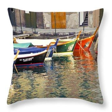 Italy Portofino Colorful Boats Of Portofino Throw Pillow by Anonymous