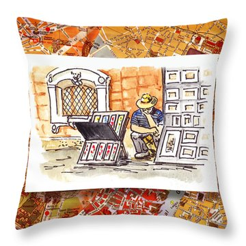 Italy Sketches Florence Art Fair At San Lorenzo Cathedral Throw Pillow by Irina Sztukowski