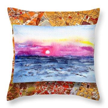 Italy Sketches Sorrento Sunset Throw Pillow by Irina Sztukowski
