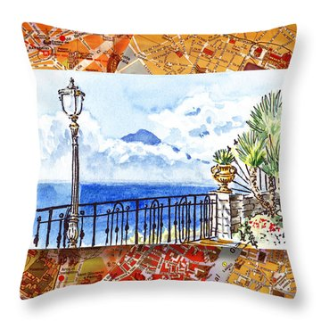 Italy Sketches Sorrento View On Volcano Vesuvius  Throw Pillow by Irina Sztukowski