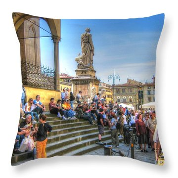 Throw Pillow featuring the pyrography Italy Street by Yury Bashkin