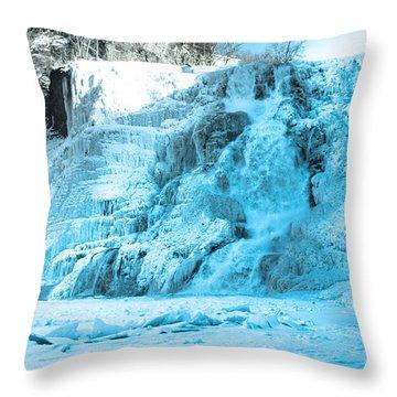 Ithaca Falls In Winter Throw Pillow