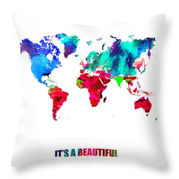 It's A Beautifull World Poster Throw Pillow
