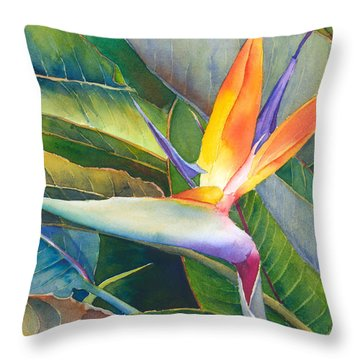 Throw Pillow featuring the painting Its A Bird by Judy Mercer