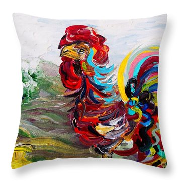 It's A Cockadoodle Do Morning Throw Pillow by Eloise Schneider