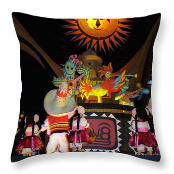 It's A Small World With Dancing Mexican Character Throw Pillow by Lingfai Leung
