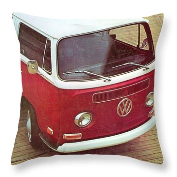 It's A Station Wagon More Or Less - Vw Camper Ad Throw Pillow by Georgia Fowler