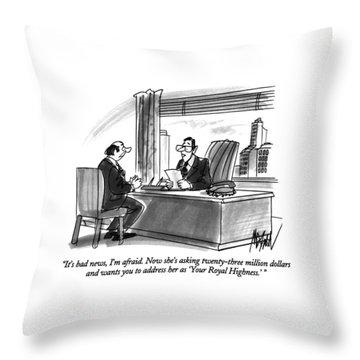It's Bad News Throw Pillow