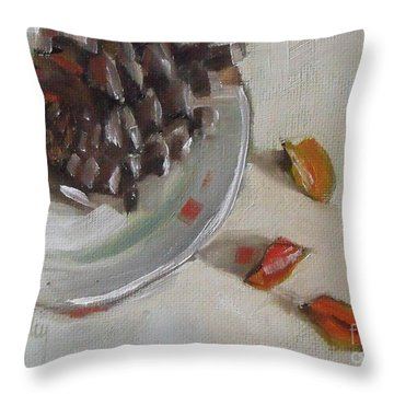 Pine Cone Still Life On A Plate Throw Pillow by Mary Hubley