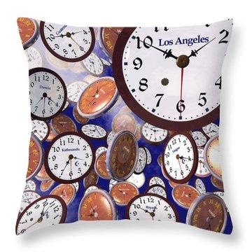Throw Pillow featuring the digital art It's Raining Clocks - Los Angeles by Nicola Nobile