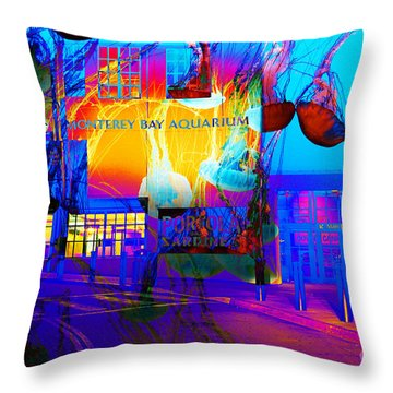 Its Raining Jelly Fish At The Monterey Bay Aquarium 5d25177 Throw Pillow