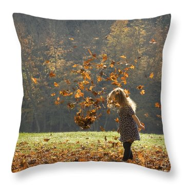It's Raining Leaves Throw Pillow by Carol Lynn Coronios