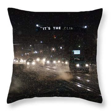 Its The Climate - Christmas Snow Throw Pillow by Mick Anderson