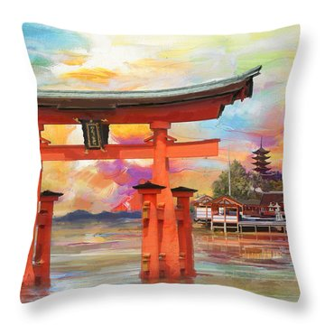 Itsukushima Shrine Throw Pillow by Catf