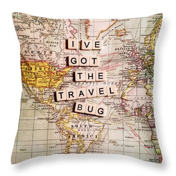 I've Got The Travel Bug Throw Pillow by Sylvia Cook