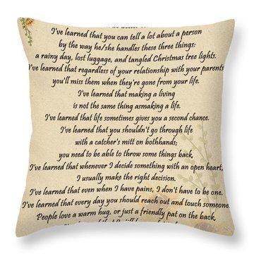 I've Learned Throw Pillow