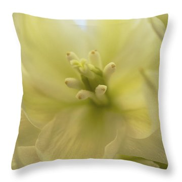 Throw Pillow featuring the photograph Ivory Dream - Yucca Flower Art Print by Jane Eleanor Nicholas