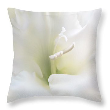 Ivory Gladiola Flower Throw Pillow