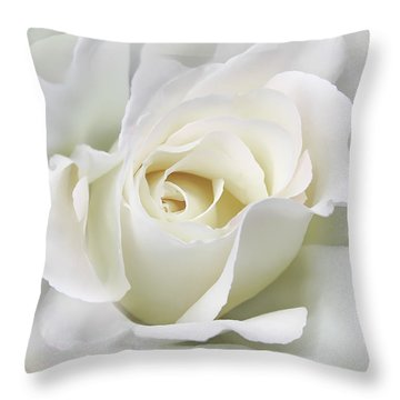 Ivory Rose Flower In The Clouds Throw Pillow by Jennie Marie Schell