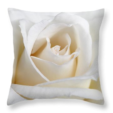 Ivory Rose Flower Throw Pillow by Jennie Marie Schell