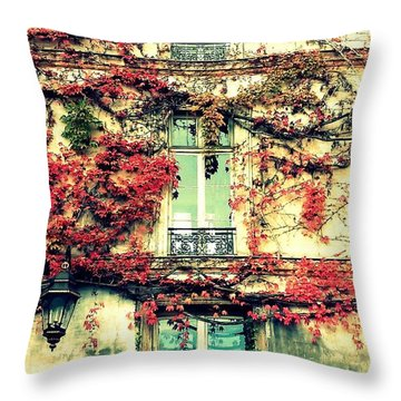 Ivy Growing On A Wall   Throw Pillow