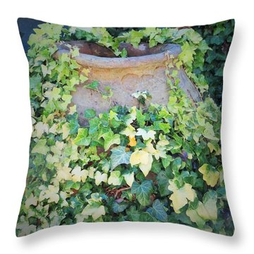 Throw Pillow featuring the photograph Ivy Hug For A Jug by Jeanette Oberholtzer