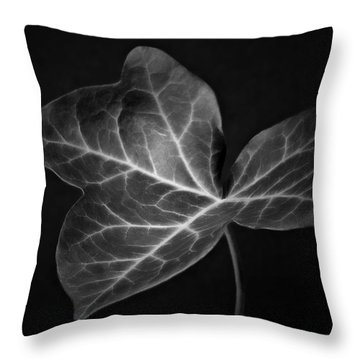 Black And White Flowers Macro Photography Art Work Throw Pillow