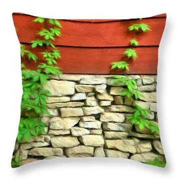 Ivy On Stone And Wood Throw Pillow by Jeffrey Kolker