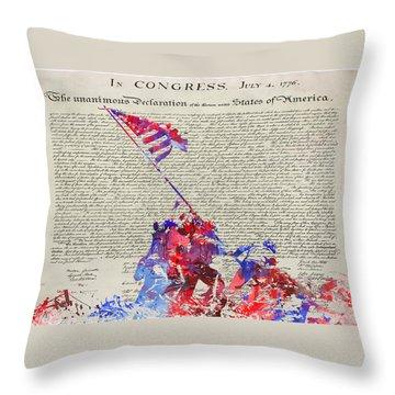 Iwo Jima Declaration Of Freedom Throw Pillow