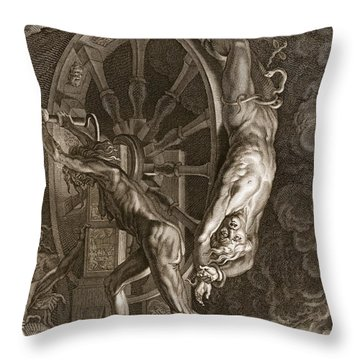 Ixion In Tartarus On The Wheel, 1731 Throw Pillow by Bernard Picart