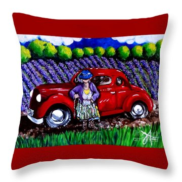 J. C. 1931 Fishing In Red Throw Pillow by Jackie Carpenter