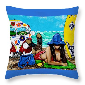J. C. Beaching It In 1961 Throw Pillow by Jackie Carpenter