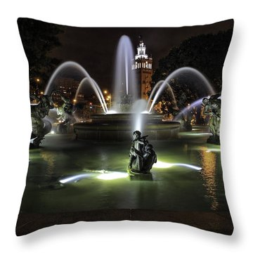 J C Nichols Fountain Throw Pillow