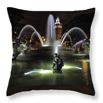 J C Nichols Fountain Throw Pillow by Lynn Sprowl