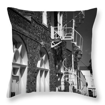 Jacaranda Hotel Fire Escape Throw Pillow by Beverly Stapleton