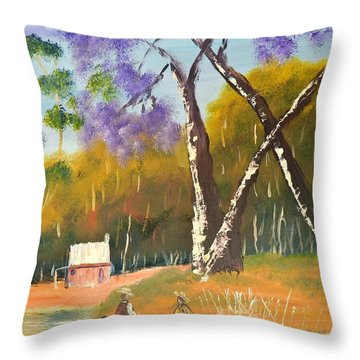 Throw Pillow featuring the painting Jacaranda Tree by Pamela  Meredith