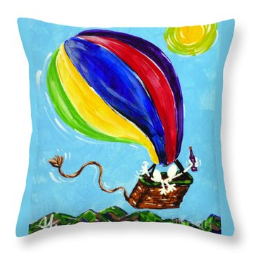 Throw Pillow featuring the painting Jack And Charlie Fly Away by Jackie Carpenter