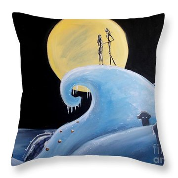 Throw Pillow featuring the painting Jack And Sally Snowy Hill by Marisela Mungia