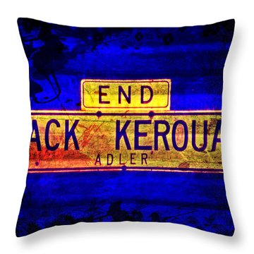 Throw Pillow featuring the mixed media Jack Kerouac Alley by Michelle Dallocchio