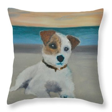 Throw Pillow featuring the painting Jack On The Beach by Kristen R Kennedy