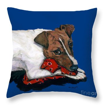 Jack Russell With A Red Bandana Throw Pillow