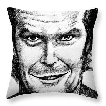 Throw Pillow featuring the drawing Jack Nicholson #2 by Salman Ravish