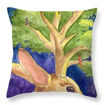 Jackalope Throw Pillow by Whitney Morton